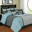 12pc Queen Deco Blue/ Beige/ Brown Luxury Bed Set