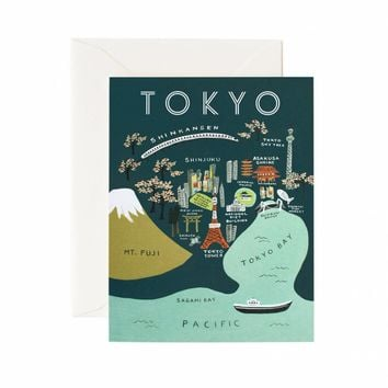 Tokyo Map Greeting Card by RIFLE PAPER Co.   Made in USA