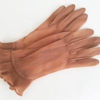 Vintage Gloves Sheer Gloves Party Gloves Ruffled Gloves Fancy Gloves Sheer Brown Gloves Womens Gloves Costume Gloves Glove Size 5
