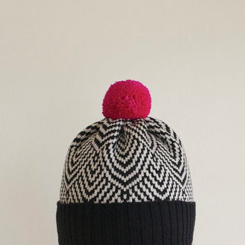 Scallop Wool Beanie, Women's Winter Hat, Black & White with Hot Pink Pom Pom