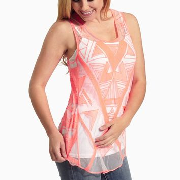 Neon Coral Embroidered Sheer Tank Top