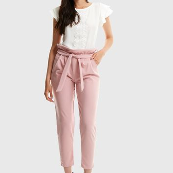 Boxed Pleated Frilled Waist Cigarette Trousers