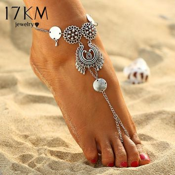 17KM Vintage Antique Silver Retro Coin Anklets For Women Yoga Ankle Bracelet Sandals Brides Shoes Barefoot Beach Gifts 2017