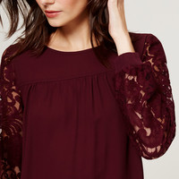 Lace Sleeve Sweatshirt Blouse