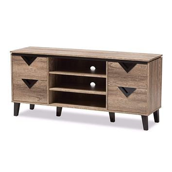 Beacon Modern and Contemporary Light Brown Wood 55-Inch TV Stand By Baxton Studio