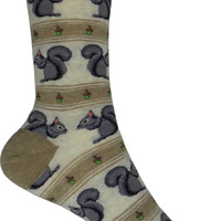 Squirrels Crew Socks in Hemp Heather