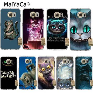 MaiYaCa Alice in Wonderland Cheshire Cat 2 Coque Shell Phone Case  for Samsung S5 S6 S7 Edge S8 Plus S6 Edge Plus S3 S4