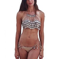 Gypsy Coin Bra Chain Mail Metal Halter Top Gipsy Festival Bralette Vintage Silver Tone