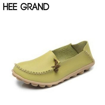 HEE GRAND Women Flats Summer Style Casual Split Leather Platform Basic Flat Shoes Woma