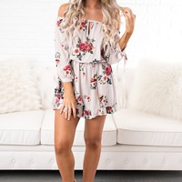Enamored Floral Romper (Light Taupe)