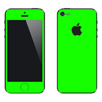 Lime Green Iphone 5 Front & Back Viny Skin Kit - 14 colors available- 15% Off until 2/15