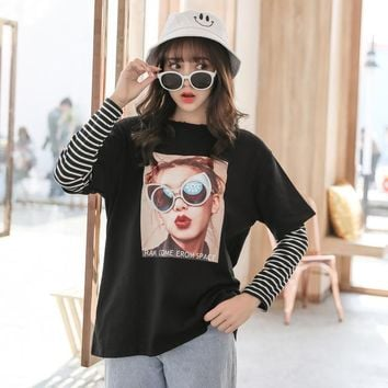 Kawaii Women T-shirt Ulzzang Summer Long Sleeve Striped Cartoon T shirt Japan Harajuku Tops Tee Preppy Tshirt HT1203