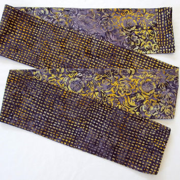 "Beautiful Autumn Scarves,  5"" Wide 74"" Long, Handmade Batik Scarf, Fall 2015 Scarf, Unique Cotton Scarves, Artisan Scarves, Reversible Scarf"