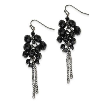 Black-plated Black Crystal Beaded Cluster Drop Earrings