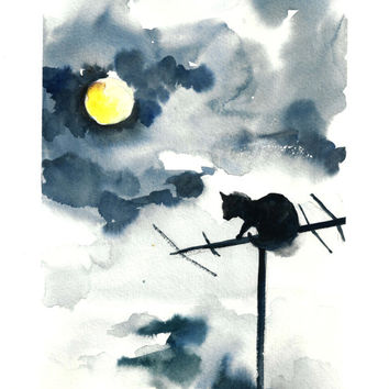 Cat on Antenna Original Watercolor Painting, Cat against Night Sky, Watercolor Art Blue