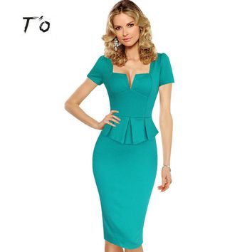 T'O 2016 Summer Lady Elegant Vintage Sexy Peplum Square Neck Tunic Dresses Casual Tunic Bodycon Pencil Sheath Party Dress 144