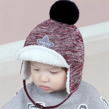 Children hat autumn winter baby plus cashmere beanies boys girls warm plus velvet cover ear  star wool ball cap kids headwear