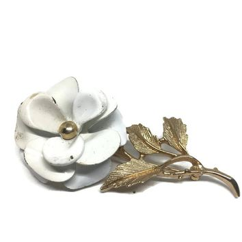 Flower Brooch by Avon, Vintage Jewelry, Avon Pin, Enamel Flower Brooch, Snowflower Brooch, Gift for Gardener, Garden Club Jewelry, For Mom