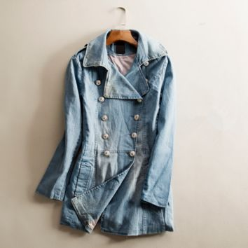 New spring women's fashion solid two-breasted long coat solid color denim