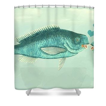 Fish Love Whimsical Wall Art Shower Curtain