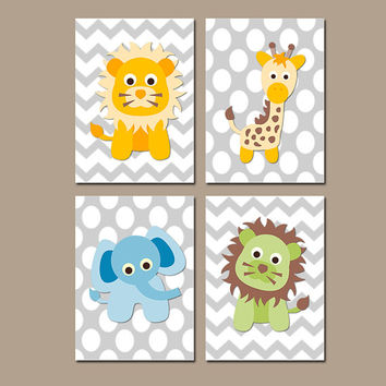 Animal Jungle Wall Art Nursery Canvas Artwork Girl Boy Child Elephant Lion Giraffe Tiger Polka Dot Set of 4 Prints Decor Bedroom Bathroom