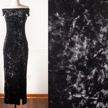 Vintage BLACK Crushed Velvet Dress | Cocktail Dress Bandage Dress Maxi Dress 90s Dress Alternative Goth Dress 90s Prom Dress Bodycon Dress