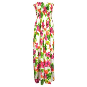 hoopla white hawaiian maxi dress