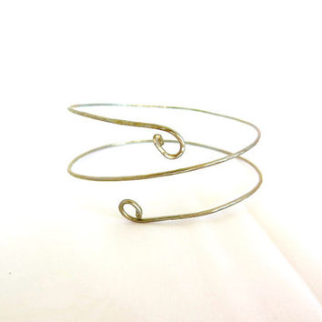 Silver tribal armlet, double wrap upper arm coil, no tarnish above the elbow cuff, gift under 30