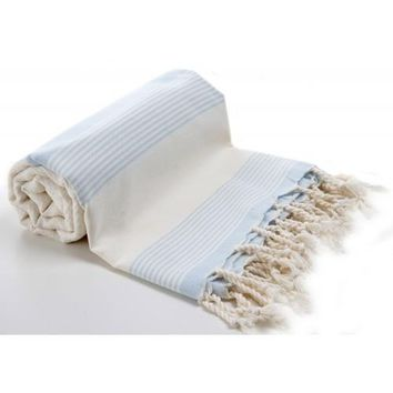 Organic Bamboo-Handwoven Turkish Towel with Light Blue Stripes