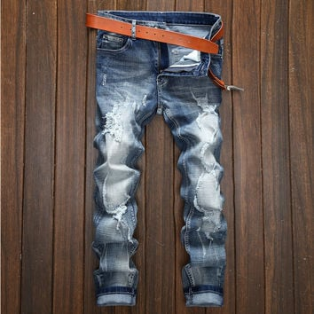 Ripped Holes Black Rinsed Denim Denim Jeans [9892501507]