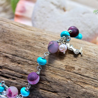 Mermaid Bracelet made in Hawaii for beach brides, gemstone jewelry inspired by the sea