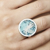 Blue lovebirds doves ring Love ring
