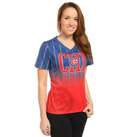 Chicago Cubs Official MLB Womens Gradient V Neck Tee