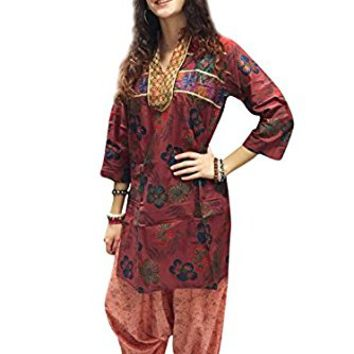 Mogul Womens Indian Tunic Dress Cotton Maroon Floral Printed Bohemian Fashion Kurti