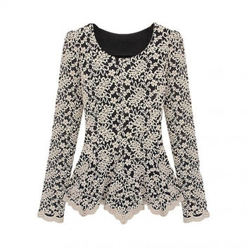 Elegant Women Lace Blouse Long Sleeve Peplum Slim Basic Shirt Tops G0647_W_24701 = 1958184324
