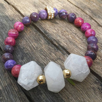 Healing Bracelet, Natural stone  bracelet. Includes 2 different  stones and gold beads. Fire Agate & Crystal rock
