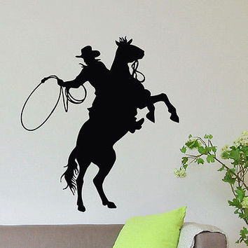 WALL DECAL VINYL STICKER ANIMAL PEOPLE COWBOY RIDING HORSE DECOR SB896