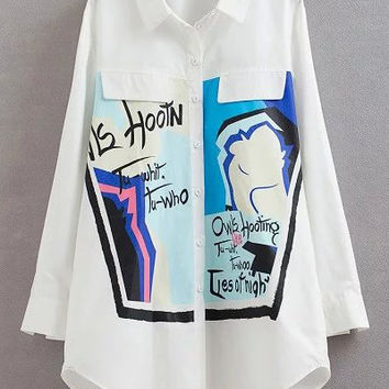 White Lapel Graffiti Print Loose Blouse