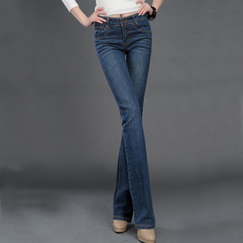 spring women flare stretch jeans female hip thin micro speaker pants big yards wide leg denim bell commuter pants tide