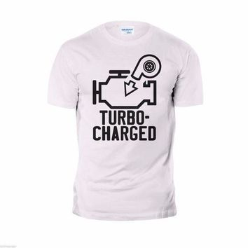 CREYXT3 In Summer Of 2018 O-Neck New T-Shirt Funny Turbo Charged Tee 100% Cotton Custom Print tops Tee Shirt Clothing