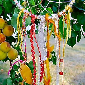 Dreamin of Summertime dreamcatcher with yellows and pear green and orange
