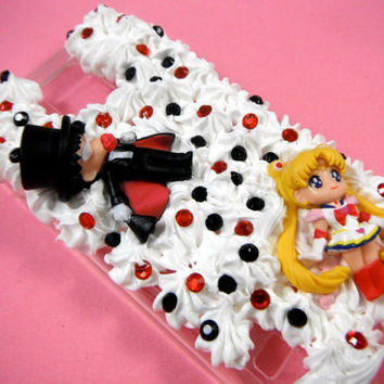 Sailor Moon Phone Case, Tuxedo Mask 3D Phone Case, Anime Phone Case, Samsung Galaxy S5 Case, Kawaii Decoden Phone Case, Whipped Cream Phone
