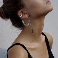 Trendy Gothic Leaf Tassel Chain Earring Cuff in 14k Gold & Silver Plated