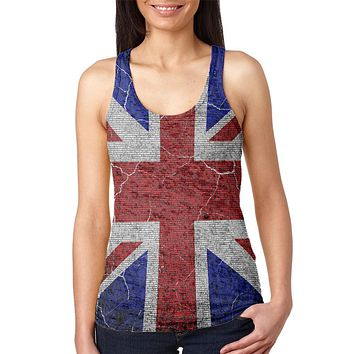 5th of November Rhyme Union Jack British Flag Juniors Burnout Racerback Tank Top