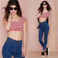Red and White Striped Short Sleeve Crop Top