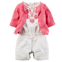 2-Piece Romper & Cardigan Set