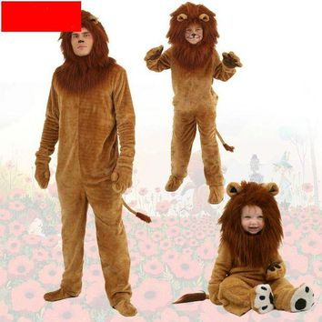ONETOW Adult/kids Animal Cosplay Halloween Costumes Animal Party Cosplay Oz Cartoon Lion Plush Cartoon Lion King Lion Siamese Costume