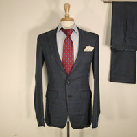 Vintage Mens suit, vintage clothing by Vikas Two Piece Two Button Custom Bespoke Navy pinstripe slim fit Suit 36 38