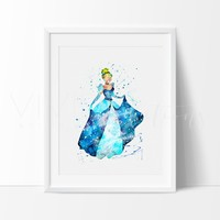 Cinderella Watercolor Art Print