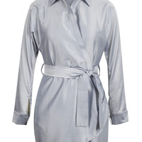 Grey Tie Waist Asymmetric Hem Shirt Dress